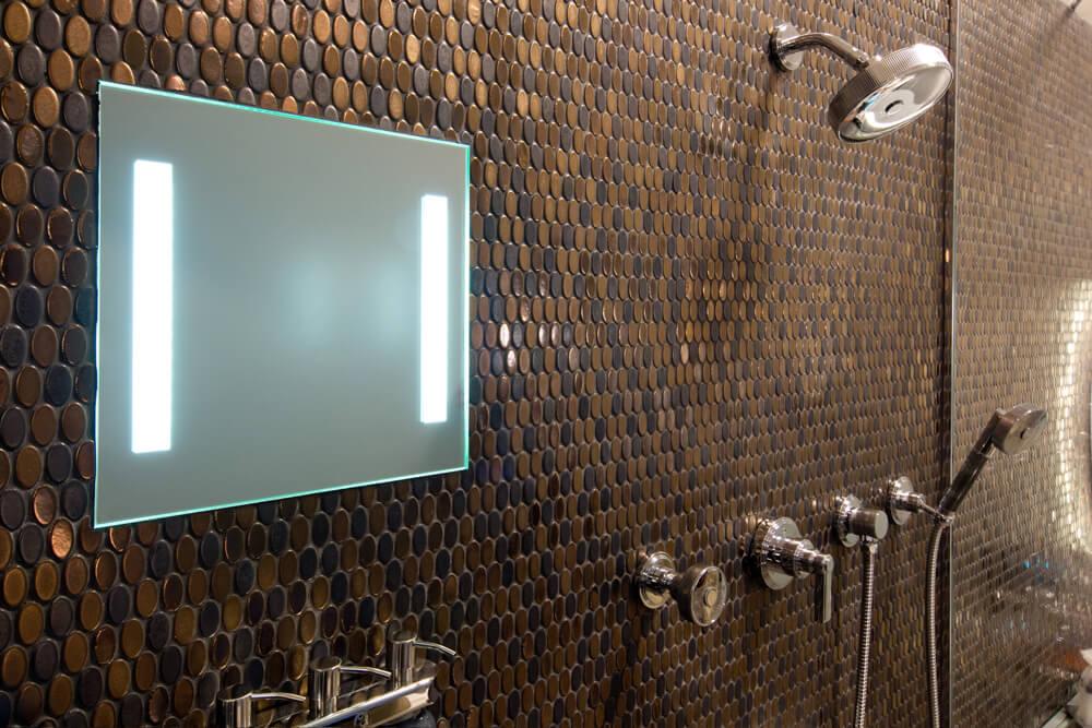 Fog free bathroom mirror